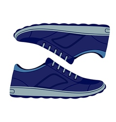 Pair unisex blue suede sneakers shoes vector image