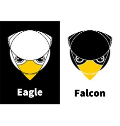 Eagle and falcon head icons vector