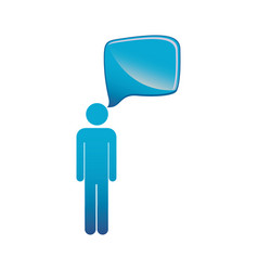 Pictogram blue male figure with square dialog box vector