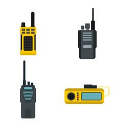 portable radio icon set flat style vector image