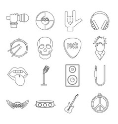 rock music icons set outline style vector image