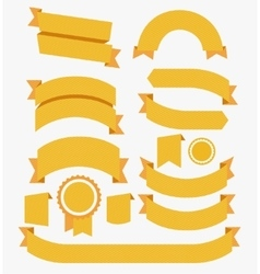 Round Ribbons Flat Design Set Yellow vector image vector image