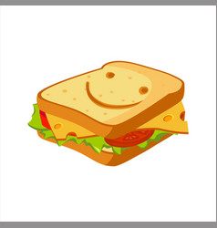 sandwich with cheese tomato and salad street vector image vector image