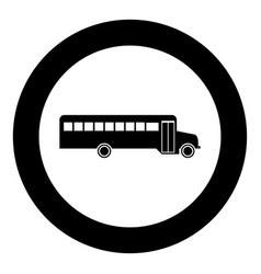 school bus black icon in circle vector image