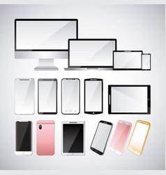 set of gadgets technologies digital responsive vector image