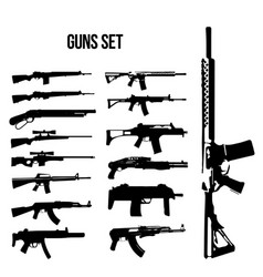 weapon icon set machine guns and rifles vector image
