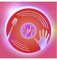 dance party dj vinyl plate red vector image