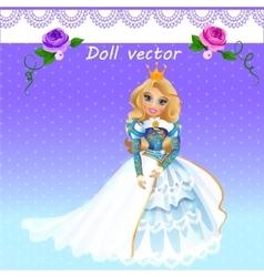 Doll Queen in ceremonial dress vector image