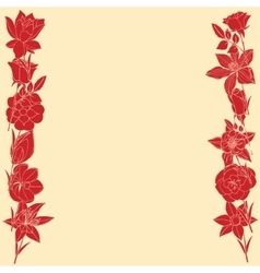 Frame frome red flowers vector image