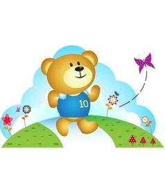 Little bear chasing butterfly vector