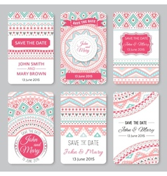 Set of perfect wedding templates with doodles vector image vector image