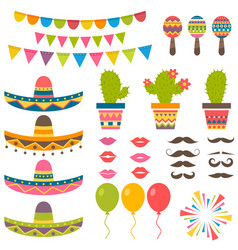 set with traditional mexican symbols for festival vector image vector image
