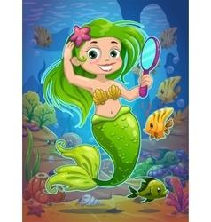 Cute cartoon mermaid vector image vector image