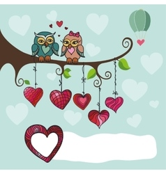 Owls couple sitting on a branch with heart vector image vector image