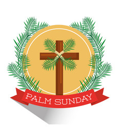 Palm sunday cross branch frond ribbon badge shadow vector
