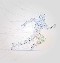 polygon mesh running male silhouette abstract man vector image