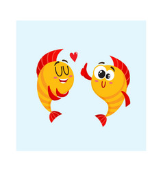 two golden fish characters showing love giving vector image vector image