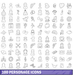100 personage icons set outline style vector image