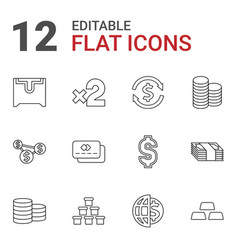 12 currency icons vector image