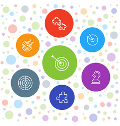 7 strategy icons vector