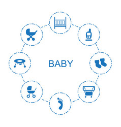 8 baby icons vector