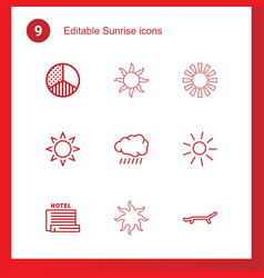 9 sunrise icons vector