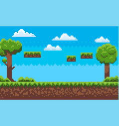 adventure map pixel game green nature vector image