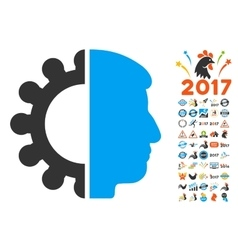 Android Head Icon With 2017 Year Bonus Pictograms vector