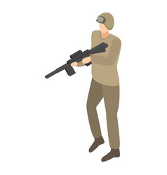 Army striker icon isometric style vector