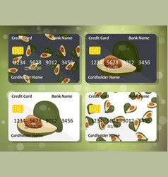 Avocado on frontal side of credit card vector