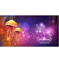 Background with glowing vivid jellyfishes vector