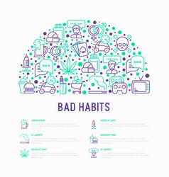 Bad habits concept in half circle vector