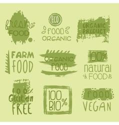 Bio food lables set vector