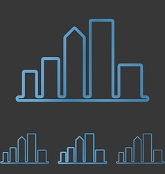 Blue line city logo design set vector