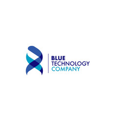 blue ribbon dna technology logo symbol vector image