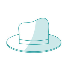 Blue silhouette shading cartoon elegant hat with vector