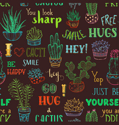 boundless background of cacti and hand-written vector image