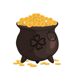 Cauldron with gold isolated on a white background vector