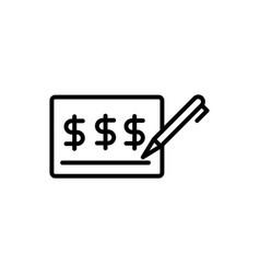 Check money signature pen business cash line vector