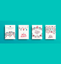 christmas and new year cute hand drawn card set vector image