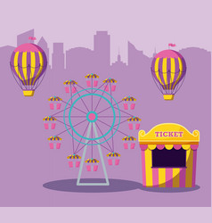 Circus tent sale ticket with amusement park vector