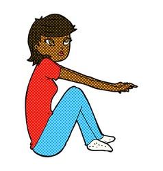 comic cartoon pretty girl sitting vector image