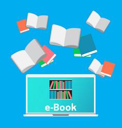 Concept e-books world library laptop education vector