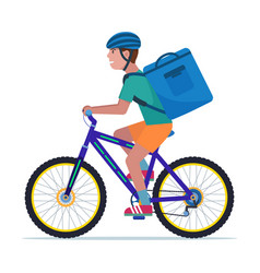 Courier man carries a box on a bicycle vector