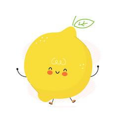cute funny lemon fruit character hand vector image