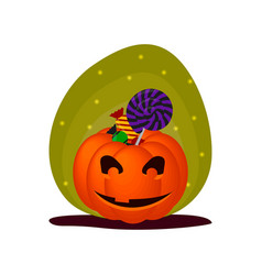 cute halloween smiling pumpkin with sweets vector image