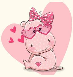 Cute hippo girl vector