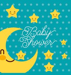 cute kawaii stars happy baby shower card vector image