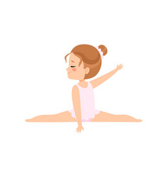 Cute little ballerina doing splits girl gymnast vector
