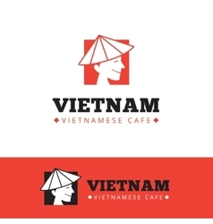 Cute vietnam food restaurant logo vector